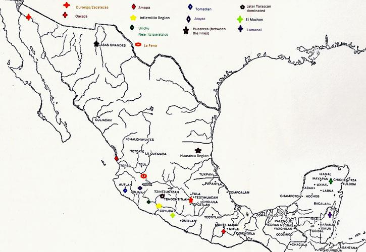 Mesoamerican copper an industry of connections pic 6 map of copper sites in pre hispanic mexico gumiabroncs Image collections