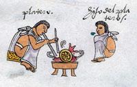 Pic 7: A father teaches his son to cast gold, Codex Mendoza, folio 70