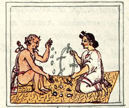 Pic 2: The original divine couple, Cipactonal and Oxomoco, casting maize kernels. Florentine Codex Book 4