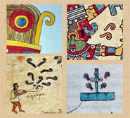 Pic 5: Speech, music or smoke scrolls? Details from: painting of Tezcatlipoca, National Museum of Anthropology, Mexico City (top L); Codex Borbonicus, fol 26 (bottom L) & 5 (top R); Codex Mendoza fol 16 (bottom R)