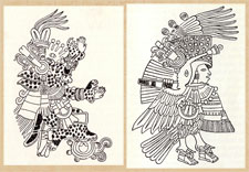 Pic 7: Just two guises of Tezcatlipoca: as jaguar and as turkey - both noble animals: it's likely that both were associated with meting out punishments to sinners; drawn from the Codex Borbonicus (spot the smoking mirrors!)