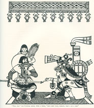 Pic 12: Illustration by Keith Henderson, from 'The Conquest of Mexico' by W.H. Prescott; note the smoking mirror in Moctezuma's headgear, symbol of rulership and power...