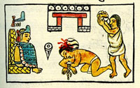 Pic 3: An Aztec adulterer being stoned to death; Florentine Codex, Book 8