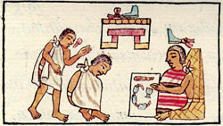 Pic 4: An Aztec trial; Florentine Codex, Book 8