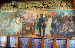 Pic 2: Moctezuma meets Cortés; (detail of) mural by Antonio González Orozco, Hospital de Jesús Nazareno, Mexico City