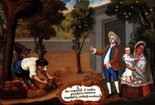 "Pic 5: Painting depicting a Mexican 'mestizo' in a 'Pintura de Castas' from the Spanish colonial period. The caption states ""Spanish and Indian produce Mestizo"""