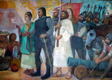 Pic 6: A Spanish friar stands at the centre of this depiction of the Conquistadores' meeting with the Aztecs; detail from a mural by Antonio González Orozco, Hospital de Jesús Nazareno, Mexico City