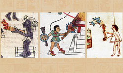 Pic 3: Examples of pine torches depicted in Mexican codices: Primeros Memoriales fol 252v (L), Telleriano-Remensis fol. 29r (centre), Vaticanus A fol. 84v (R)