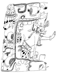 Pic 3: Illustration from a painted Late Classic vase depicting Chac, the rain god sitting in his cave/house drawn like a building in profile. (After Stone 1995: Fig. 3-1, adapted from Coe 1978:78, no.11)