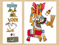 Pic 7: (L) The nine underworlds, based on the Codex Vaticanus A and (R) Mictecacíhuatl (Lady of the Underworld) based on the Codex Fejérvary-Mayer: illustrations by Miguel Covarrubias