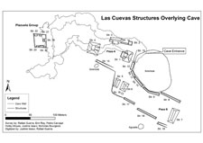 Pic 10: Map of the Las Cuevas site illustrating entrance to the cave situated directly below the eastern structure of Plaza A. The cave tunnel system runs directly beneath the site (courtesy of the LCAR)