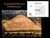 Pic 11: Schematic drawing (after Doris Heyden, 1975) illustrates the placement of the cave beneath the Pyramid of the Sun, Teotihuacan, Mexico (Moyes and Brady 2005)