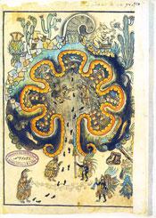 Pic 12: Chicomoztoc, the Aztec cave of origin, as depicted in the Historia Tolteca-Chichimeca, fol. 34