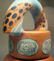 Replica of a painted Maya chocolate pot from Guatemala