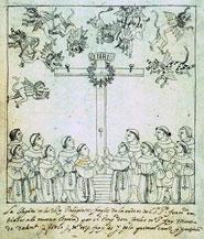 Pic 2: The arrival of the twelve Franciscan apostles (Diego Muñoz Camargo, 'Descripción de la ciudad y provincia de Tlaxcala', Glasgow University Library, MS Hunter 242, folio 239v (detail)