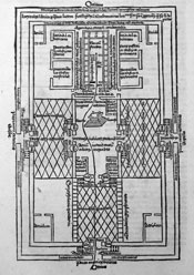 Pic 6: Drawing of Temple plan from Nicholas of Lyra's bible commentary (1498)