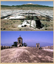 Pic 7: Google Earth image (top); the extinct volcano Iztaccíhuatl as seen from the roof of the church at Huejotzingo (bottom)