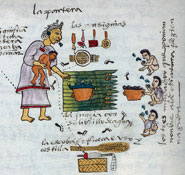 Pic 11: Aztec washing ritual (Codex Mendoza, folio 57r [detail]; Bodleian Library, Oxford)