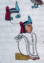 Pic 12: Aztec 'copilli' mitre (Codex Mendoza, folio 16r [detail]; Bodleian Library, Oxford)