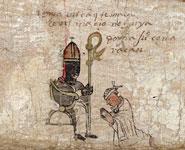 Pic 13: Bishop confirming a young man who wears the 'crismale' headband; Tira de Tepechpan, fol. 16-17 (detail), Bibliotheque Nationale de France