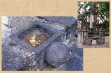 Pic 16: Outdoor stone cross with 'cuauhxicalli' receptacle inserted at the base (Cuernavaca, Morelos)