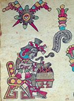 Pic 17: A flower tops the glyph for song, stressing its 'precious' quality (Codex Borbonicus, fol. 4 [detail]; Bibliotheque de l'Assembée Nationale, Paris)