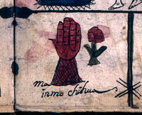 """Pic 18: Pictorial symbols for """"Amen"""" at the end of the Lord's Prayer: an open hand, meaning """"let"""" or """"permit it"""", and a flower, meaning something good or beautiful (British Museum, MS Egerton 2898, fol. 3, detail)"""