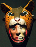 Pic 3: Contemporary Mexican folk mask, human-jaguar, National Museum of Anthropology, Mexico City