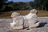 Pic 4: Double-headed jaguar throne on the eastern terrace of the Governor's Palace at the Maya city of Uxmal in the Yucatan, Mexico