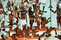 Pic 7: Wearing jaguar skins, members of a Maya royal court display their power over defeated rivals; room 2, Bonampak murals (detail)