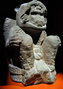 Pic 11: Basalt jaguar warrior, National Museum of Anthropology, Mexico City. He is shown as a great lord seated on a bejewelled wooden throne