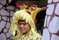 Pic 15: Jaguar-man wearing an elaborate mirror-eyed jaguar helmet at the village of Zitlala, Guerrero, as part of the springtime petitions for rain