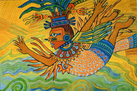 Quetzalcoatl hurls himself into the air; from 'How Music Came to the World'