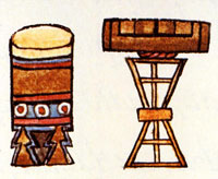 Huehuetl and Teponaztli; from the Florentine Codex