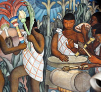 Aztec musicians: detail from a mural by Diego Rivera, National Palace, Mexico City