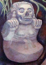 A ciihuateotl figure, in the underworld. Detail from a mural by R. Anguiano, National Museum of Anthropology, Mexico