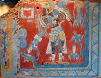 Pic 1: Re-creation of mural at Cacaxtla. Quetzalcoatl slithers along the border. Copyright: Museo Nacional de Antropología