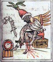 Pic 3: The legendary priest, Ce Acatl Topilltzin Quetzalcoatl in a blood-letting ceremony. Florentine Codex Book 3