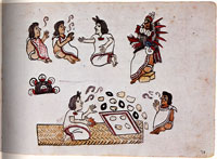 Pic 4: Mexica doctors performing a ceremony in tribute to Quetzalcoatl (pictured). Codex Maglabecchiano, fol. 78r