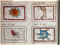 Pic 6: Designs for Quechtin, or blankets. The bottom left-hand symbol is for wind. Codex Maglabechiano, fol. 07v