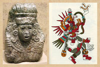 Pic 8: Bust of Quetzalcoatl (R), British Museum; drawing of Quetzalcoatl-Ehécatl (R) based on the Codex Borbonicus
