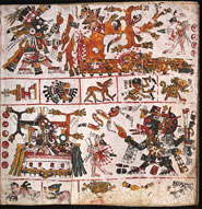 Pic 9: Quetzalcoatl-Tlahuizpantecuhtli, god of Venus.  He is chopping a tree on the upper left hand  side, and on a decorated platform on the lower left hand side. Codex Borgia, fol.19