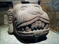 Pic 10: Aztec stone sculpture of Xolotl, National Anthropology Museum, Mexico City (Wikipedia)