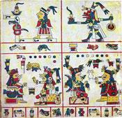 Pic 11: Quetzalcoatl-Ehécatl (upper-right). Codex Féjervary Mayer, fol.35