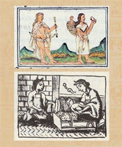 Pic 6: Two forms of pre-Hispanic baby carriers, both from the Florentine Codex: top - Chichimec family, Bk 10; bottom - Aztec mother, baby and midwife, Bk 6