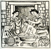 Pic 7: An Aztec child is washed in a ceramic wash tub; Florentine Codex Book 6