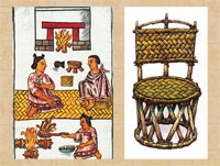 Pic 8: Domestic scene, Florentine Codex Book 7 (L); artist's impression of an 'icpalli' (R)