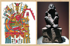 Pic 10: (L) Drawing by Miguel Covarrubias of Tonatiuh (from the Codex Borgia plate 71); (R) sculpture of Xochipilli seated on a bench adorned with fertility icons, National Museum of Anthropology, Mexico City