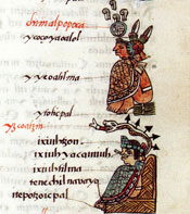 Pic 12: Contrast the seats of (above) Chimalpopoca and (below) Itzcóatl! 'Primeros Memoriales', folio 51r (detail)