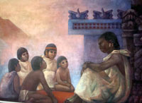 Pic 2: ... to school; detail from a mural by Fanny Rabel, National Museum of Anthropology, Mexico City